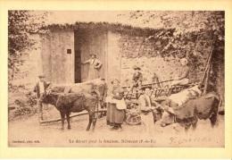 REPRODUCTION NEBOUZAT LE DEPART POUR LA FENAISON ANNEES 1990 CARTES ANCIENNES L'AUVERGNE  20,5 X 30cm SUR CARTON BEIGE - Auvergne