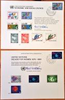 UNO Genève 1980 2 FDC Nr. 89 Und 84 Decade For Women Und Economic And Social Council Auf Erinnerungsblatt Souvenir Card - Genève - Kantoor Van De Verenigde Naties