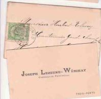TROIS PONTS JOSEPH LEJEUNE WERIHAY  Conseiller Provincial  1897 - Cartes De Visite