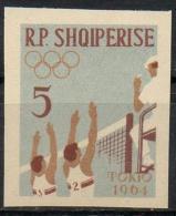 Albania 1963 - Olimpiadi Tokyo Olympic Games Pallavolo Non Dentellato Volley Imperforate MNH ** - Albania