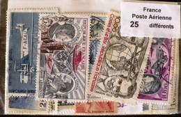 FRANCE Lot 25 Timbres POSTE AERIENNE Tous Differents Neufs ET Obliteres - Airmail