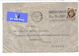 SP1174 - GRAN BRETAGNA  1950 , Da Londra Per Il Canada. British Industries Fair - 1902-1951 (Re)