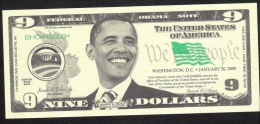 U.S.A.   FICTIF 9 DOLLARS  OBAMA Serie 2009  BHO      DATE 2009       UNC. - Specimen