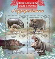 Uganda. 2013 Hippopotamus. Sheet Of 4v + Bl  (105) - Stamps