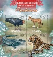 Uganda. 2013 Predators.  Sheet Of 4v + Bl  (104) - Eagles & Birds Of Prey