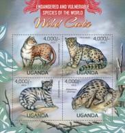 Uganda. 2013 Wild Cats. Sheet Of 4v + Bl (103) - Big Cats (cats Of Prey)