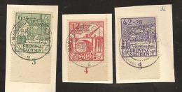 Provinz Sachsen - Wiederaufbau Satz  Nr. 87 A - 88 A - 89 A  Gestempelt Magdeburg Sudenburg - 28.2.46 - 13 - Vom UR - Zone Soviétique