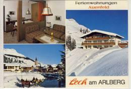 LECH Am Arlberg, Ferienwohnungen Auenfeld, Mehrbildkarte, Nice Stamp,  CH Rapperswil, 1979 - Lech