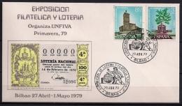 BILBAO 1979, SOBRE CONMEMORATIVO, EXPOSICIÓN DE FILATELIA Y LOTERIA - Juegos
