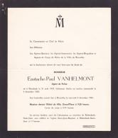 Faire-parts Mortuaire - Décès De VANHELMONT PAUL Agent De Police  Né à Etterbeek - Lâchement Abattu Le 04/12/65 - Todesanzeige