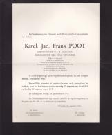 Faire-parts Mortuaire - Décès De FRANS  POOT  ( 24/08/62)  Burgemeester Van  VILVOORDE - Todesanzeige