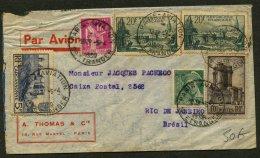 Enveloppe Avec Affranchissement à 56.25 Fr Avec 6 Timbres Dont 2X 20F St MALO Oblt CàDate Type 04A5 PARIS AVIATION 1939 - Air Post
