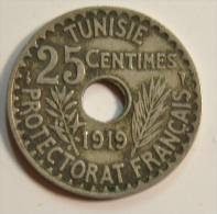 Tunisie 25 Centimes 1919 Protectorat Français - Tunisie