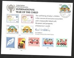 UNO Genève 1979 2 FDC Erinnerungskarte Nr 83 International Year Of The Child L´Enfant Auf Erinnerungsblatt Souvenir Card - Ginevra - Ufficio Delle Nazioni Unite