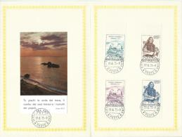 1973. VATICAN. SPECIAL SOUVENIR 4 PAGE FOLDER  WITH SET OF VATICAN STAMPS. - FDC