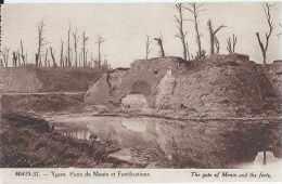 Ieper - Ypres - 40419-37 - Porte De Menin Et Fortifications - Dos Séparé - Non Circulé - Vue Prise Avant Et Après La Gue - Ieper