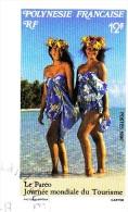 1 TIMBRE SOUS ENVELOPPE TRANPARENTE POLYNESIE FRANCAISE RF 12F OBLITERE LE PAREO JOURNEE MONDIALE DU TOURISME 3-8-1992 - French Polynesia
