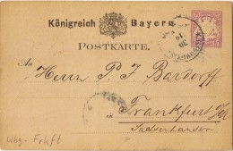 "(166) Ganzsache, Bahnpost ""Wbg-Frkft"" (Würzburg-Frankfurt) 1879 - Bavière"