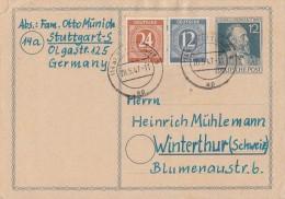 Gemeina. GS Zfr. Minr. 920, 925 Stuttgart 20.5.47 Gel. In Schweiz Zensur - Gemeinschaftsausgaben