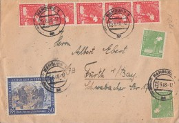 Brief Zehnfachfr. Mif Minr.5x 943,5x 945, 2x 946,10x 947,967 Hamburg 23.6.48 - Gemeinschaftsausgaben