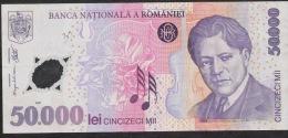 ROMANIA  P113a  50.000 LEI   2001 AVF Vertical Folds - Romania