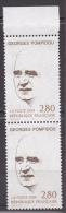 N° 2875 20ème Anniversazire De La Mort De Georges Pompidou: Esquise Du Portrait : Une Paire De 2 Timbres - France