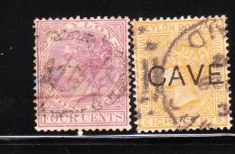 Ceylon 1883-99 Queen Victoria 2v Used - Ceylon (...-1947)
