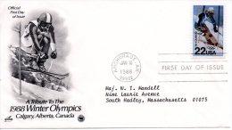 USA. N°1797 Sur Enveloppe 1er Jour (FDC) De 1988. J.O. De Calgary/Ski. - Winter 1988: Calgary