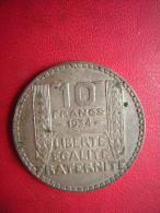 UNE PIECE DE 10 FRANCS 1934 P TURIN  ARGENT - K. 10 Francos