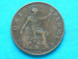 1916 PENNY / KM 810 ( For Grade, Please See Photo ) ! - D. 1 Penny
