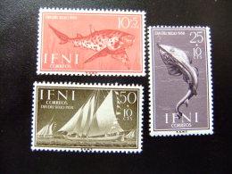 IFNI Año 1958 FAUNA PECES - TRANSPORTE BARCOS -DIA DEL SELLO  Edifil Nº149 - 151 ** Yvert 123 - 125 ** - Ships