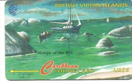 British Virgin Islands-(bvi-218a)-sloops Of The Byi)-(193cbuf003745)--us$5-used Card+1 Card Prepiad Free - Vierges (îles)