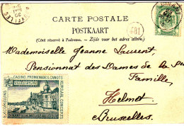 "N°83 Càd Dinant 29 MAI 10§belle Vignette ""Dinant-sur-Meuse Casino-promenades-canots...""s/CP V.Schaerbeek/Helmet.TB - 1893-1907 Armoiries"