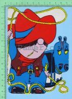 Forme De Petit Cowboy-2 ( Kut Kards Die Cut Cards Decoupis Cir: 1980 ) Large Carte Postale  Post Card - Cartes Postales