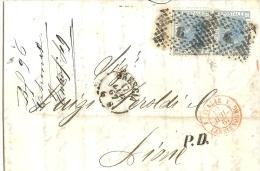 LBL18 - ITALIE LETTRE CLASSIQUE - VE II  20c X 2 SUR LETTRE BRESCIA /  LYON 17/7/1867 - Marcophilie