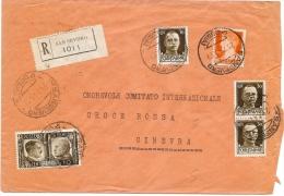 LBL18 - ITALIE - IMPERIALE ET PROPAGANDA SUR LETTRE REC. SAN SEVERO / GENEVE 23/7/1941  CENSUREE - Poststempel