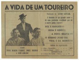 BEJA ♦ ESPLANADA JARDIM ♦ 14.7.1949 ♦ A VIDA DE UM TOUREIRO ♦ PEPIN MARTIN VASQUEZ, JORGE MISTRA - Programmes