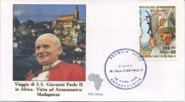 MADAGASCAR  - FDC ROMA 1989 - VIAGGIO DEL PAPA IN AFRICA - ANTANANARIVO - MADAGASCAR - FDC