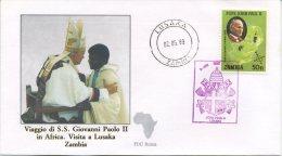 ZAMBIA  - FDC ROMA 1989 - VIAGGIO DEL PAPA IN AFRICA -  LUSAKA - ANNULLO SPECIALE - FDC