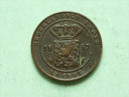 1857 1/2 Cent / KM 306 ( For Grade, Please See Photo ) !! - Indes Néerlandaises