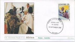 LESOTHO - FDC ROMA 1988 - VIAGGIO DEL PAPA IN AFRICA -  ROMA - ANNULLO SPECIALE - FDC