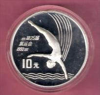 CHINA 10 YUAN 1990 AG PROOF OLYMPICS PLATFORM DIVING - Monnaies