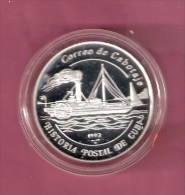 CUBA 5 PESOS 1993 ZILVER PROOF POSTAL SHIP DE CUBA SCHIP - Monnaies