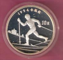 CHINA 10 YUAN 1992 AG PROOF OLYMPICS SKIER CROSS COUNTRY - Monnaies
