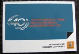 Carte Postale Automobile Publicitaire Renault 40 Ans Triplé Alpine 1973 - Voitures De Tourisme
