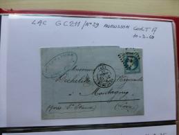 AUBUSSON Timbre Napoléon Sur Let Avec Cachets Dont GC 211, An 1869 ; Ref 538 CL - 1853-1860 Napoleon III