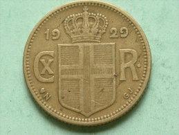1929 N GJ - 1 KRONA / KM 3.1 ( For Grade, Please See Photo ) ! - Islande