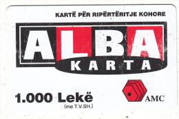 ALBANIA - ALBA Karta, AMC Prepaid Card 1000 Leke, Exp.date 04/02/06, Used - Albanie