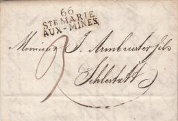 66 STE MARIE / AUX MINES  [39 X 16] Sur LAC Du 30.03.1816 à Destination De Selestat - Alsace-Lorraine
