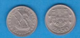 PORTUGAL  (República)  2,50 Escudos 1.976  Cu Ni KM#590  SC/UNC    DL-10.487 - Portugal